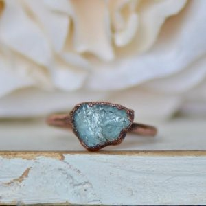 Raw Aquamarine Ring, Electroformed Jewelry, Bohemian Ring, March Birthstone Ring, Raw Stone Jewelry, Unique Gift for Her, Raw Crystal Ring | Natural genuine Gemstone rings, simple unique handcrafted gemstone rings. #rings #jewelry #shopping #gift #handmade #fashion #style #affiliate #ad