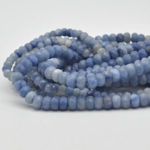 """Shop Aventurine Faceted Beads! High Quality Grade A Natural Blue Aventurine Semi-Precious Gemstone FACETED Rondelle Spacer Beads – 6mm, 8mm sizes – 15.5"""" strand 