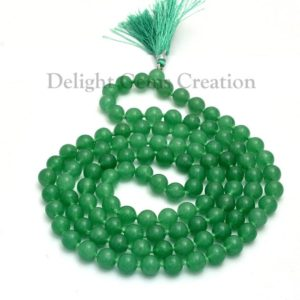 Green Aventurine Beads Mala Necklace, 10mm Aventurine Green Natural Beads, Meditation Mala, Tassel Necklace, Hand Knotted Japa Mala Beads | Natural genuine Gemstone necklaces. Buy crystal jewelry, handmade handcrafted artisan jewelry for women.  Unique handmade gift ideas. #jewelry #beadednecklaces #beadedjewelry #gift #shopping #handmadejewelry #fashion #style #product #necklaces #affiliate #ad