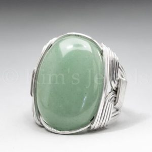 Shop Aventurine Rings! Green Aventurine Gemstone 18x25mm Cabochon Sterling Silver Wire Wrapped Ring -Optional Oxidation/Antiquing – Made to Order and Ships Fast! | Natural genuine Aventurine rings, simple unique handcrafted gemstone rings. #rings #jewelry #shopping #gift #handmade #fashion #style #affiliate #ad