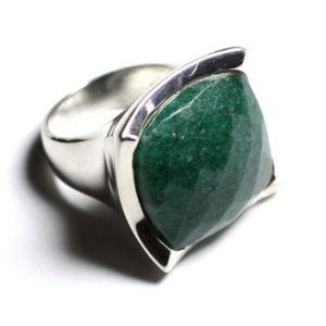 Shop Aventurine Rings! N222 – green Aventurine faceted 925 sterling silver ring square 20mm | Natural genuine Aventurine rings, simple unique handcrafted gemstone rings. #rings #jewelry #shopping #gift #handmade #fashion #style #affiliate #ad