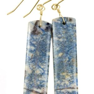 Shop Azurite Earrings! Azurite Earrings Lightning Blue Marbled Striped 14k solid gold or filled or Sterling Silver Smooth Long Rectangle Natural Matte Drops 2.3 In | Natural genuine Azurite earrings. Buy crystal jewelry, handmade handcrafted artisan jewelry for women.  Unique handmade gift ideas. #jewelry #beadedearrings #beadedjewelry #gift #shopping #handmadejewelry #fashion #style #product #earrings #affiliate #ad