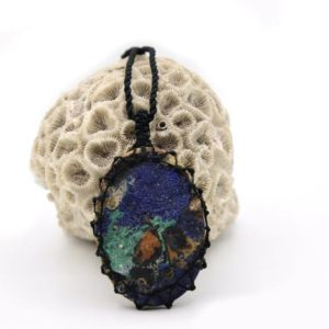 Shop Azurite Pendants! Raw Malachite Azurite Pendant, Natural Crystal Necklace, Large Pendant, Real Gemstone Jewelry, Geology Gift, Azurite Malachite Stone Jewelry | Natural genuine Azurite pendants. Buy crystal jewelry, handmade handcrafted artisan jewelry for women.  Unique handmade gift ideas. #jewelry #beadedpendants #beadedjewelry #gift #shopping #handmadejewelry #fashion #style #product #pendants #affiliate #ad