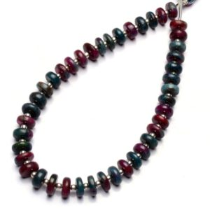Shop Ruby Zoisite Rondelle Beads! Bicolor Gemstone Natural Ruby Zoisite 7-8MM Size Smooth Rondelle Beads for Jewelry Making 9 Inches Full Strand | Natural genuine rondelle Ruby Zoisite beads for beading and jewelry making.  #jewelry #beads #beadedjewelry #diyjewelry #jewelrymaking #beadstore #beading #affiliate #ad