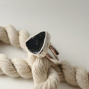 Shop Black Tourmaline Rings! Black Tourmaline Ring, 950 Sterling Silver, Handmade, Adjustable design, Triangle shape, Genuine Tourmaline, Natural stone, Gift. | Natural genuine Black Tourmaline rings, simple unique handcrafted gemstone rings. #rings #jewelry #shopping #gift #handmade #fashion #style #affiliate #ad