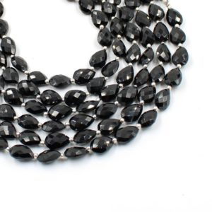 """Shop Black Tourmaline Bead Shapes! Black Tourmaline Teardrop T Drilled Faceted Gemstone Beads, 8×10-8x12mm 7""""Strand, Natural Tourmaline Pear Loose Beads 