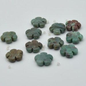 """High Quality Grade A Natural Australian Bloodstone Semi-precious Gemstone Flower Shaped Beads – Approx 15.5"""" – 16"""" Strand 