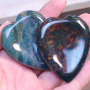 Shop Bloodstone Shapes! Bloodstone Heart Worry Stone E27 | Natural genuine stones & crystals in various shapes & sizes. Buy raw cut, tumbled, or polished gemstones for making jewelry or crystal healing energy vibration raising reiki stones. #crystals #gemstones #crystalhealing #crystalsandgemstones #energyhealing #affiliate #ad