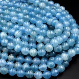 """AAA Natural Argentina Lemurian Aquatine Calcite Aka Blue Calcite Smooth Round Beads 6mm 7mm 8mm 9mm 10mm 12mm 13mm Gemstone 15.5"""" Strand 