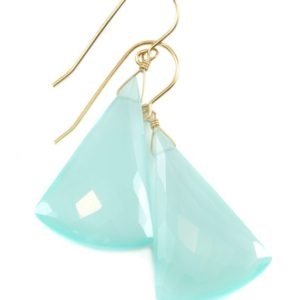 Shop Blue Chalcedony Earrings! Aqua Blue Chalcedony Earrings 14k Solid Gold or Filled or Sterling Silver Teardrop Triangle Faceted Soft Pale Blue Long Large Drops 2 Inch | Natural genuine Blue Chalcedony earrings. Buy crystal jewelry, handmade handcrafted artisan jewelry for women.  Unique handmade gift ideas. #jewelry #beadedearrings #beadedjewelry #gift #shopping #handmadejewelry #fashion #style #product #earrings #affiliate #ad