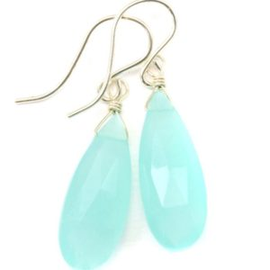 Shop Blue Chalcedony Earrings! Aqua Blue Chalcedony Earrings 14k Solid Gold or Filled or Sterling Silver Long Teardrops Faceted Briolette Soft Light Blue Drops | Natural genuine Blue Chalcedony earrings. Buy crystal jewelry, handmade handcrafted artisan jewelry for women.  Unique handmade gift ideas. #jewelry #beadedearrings #beadedjewelry #gift #shopping #handmadejewelry #fashion #style #product #earrings #affiliate #ad