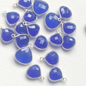 Shop Blue Chalcedony Beads! 11-13mm Blue Chalcedony Connectors, 3pcs Blue Faceted Heart Single Loop 925 Silver Connectors, Bezel Connector, Finding, Silver Charm – Ks67 | Natural genuine faceted Blue Chalcedony beads for beading and jewelry making.  #jewelry #beads #beadedjewelry #diyjewelry #jewelrymaking #beadstore #beading #affiliate #ad