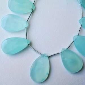 Shop Blue Chalcedony Beads! 18x27mm – 19x30mm Aqua Chalcedony Faceted Pear Beads, Huge Aqua Blue Chalcedony Pear Beads, Aqua Chalcedony Earrings (4in To 8in Options) | Natural genuine other-shape Blue Chalcedony beads for beading and jewelry making.  #jewelry #beads #beadedjewelry #diyjewelry #jewelrymaking #beadstore #beading #affiliate #ad