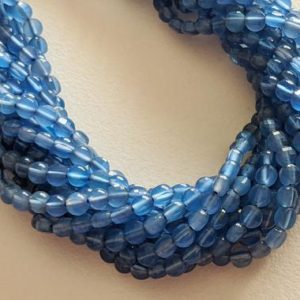 Shop Blue Chalcedony Beads! 4mm Blue Chalcedony Faceted Coin Beads, 13 Inches Chalcedony Round Coin Beads, Chalcedony For Necklace (1 Strand To 5 Strand Options)- AAG67 | Natural genuine other-shape Blue Chalcedony beads for beading and jewelry making.  #jewelry #beads #beadedjewelry #diyjewelry #jewelrymaking #beadstore #beading #affiliate #ad