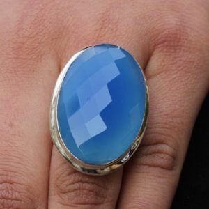 Shop Blue Chalcedony Rings! Blue chalcedony ring, huge natural gemstones 925 sterling silver jewelry, faceted gemstone, cocktail jewelry, statement Rings, Boho Jewelry | Natural genuine Blue Chalcedony rings, simple unique handcrafted gemstone rings. #rings #jewelry #shopping #gift #handmade #fashion #style #affiliate #ad