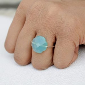 Shop Blue Chalcedony Rings! Natural Blue Chalcedony Ring, Sterling Silver Ring, Aqua Chalcedony Jewelry, Chalcedony, Handmade Ring, Everyday Ring, Cocktail Ring | Natural genuine Blue Chalcedony rings, simple unique handcrafted gemstone rings. #rings #jewelry #shopping #gift #handmade #fashion #style #affiliate #ad