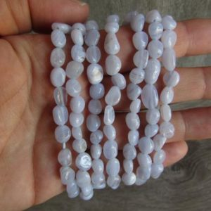 Shop Blue Lace Agate Bracelets! Blue Lace Agate Stretchy String Oval Bracelet G33 | Natural genuine Blue Lace Agate bracelets. Buy crystal jewelry, handmade handcrafted artisan jewelry for women.  Unique handmade gift ideas. #jewelry #beadedbracelets #beadedjewelry #gift #shopping #handmadejewelry #fashion #style #product #bracelets #affiliate #ad