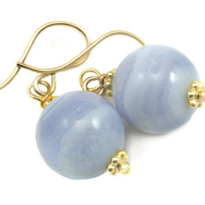 Shop Blue Lace Agate Earrings! Blue Lace Agate Earrings AAA Natural Round Smooth Drop Beaded Accents Sterling Silver or 14k Solid Gold or Filled Pale Blue Ribbon Banding   Natural genuine Blue Lace Agate earrings. Buy crystal jewelry, handmade handcrafted artisan jewelry for women.  Unique handmade gift ideas. #jewelry #beadedearrings #beadedjewelry #gift #shopping #handmadejewelry #fashion #style #product #earrings #affiliate #ad