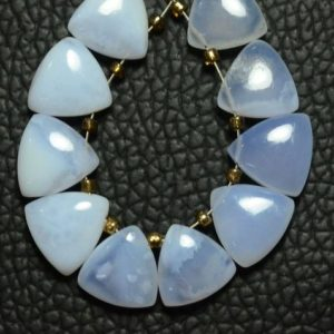 Shop Blue Lace Agate Bead Shapes! Natural Blue Lace Agate Trillion Beads 10mm Smooth Trillion Shape Briolettes Gemstone Beads Superb Blue Lace Agate Stone (10 Pcs) No4960   Natural genuine other-shape Blue Lace Agate beads for beading and jewelry making.  #jewelry #beads #beadedjewelry #diyjewelry #jewelrymaking #beadstore #beading #affiliate #ad