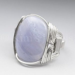 Shop Blue Lace Agate Rings! Blue Lace Agate Gemstone 18x25mm Cabochon Sterling Silver Wire Wrapped Ring -Optional Oxidation/Antiquing – Made to Order and Ships Fast!   Natural genuine Blue Lace Agate rings, simple unique handcrafted gemstone rings. #rings #jewelry #shopping #gift #handmade #fashion #style #affiliate #ad