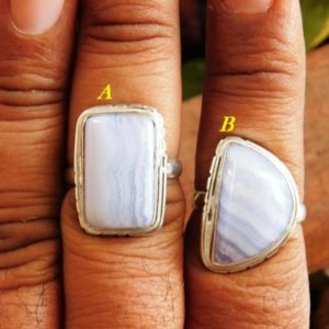 Shop Blue Lace Agate Rings! Blue Lace Ring, Sterling Silver Ring,Statement Ring,Birthstone Ring,Blue Lace agate gemstone Ring, agate ring, gift for her, J-31   Natural genuine Blue Lace Agate rings, simple unique handcrafted gemstone rings. #rings #jewelry #shopping #gift #handmade #fashion #style #affiliate #ad