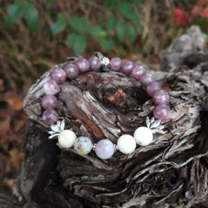 Shop Lepidolite Bracelets! Bracelet faceted Lepidolite, dendritic Agate with Lotus Flower beads and silver metal beads | Natural genuine Lepidolite bracelets. Buy crystal jewelry, handmade handcrafted artisan jewelry for women.  Unique handmade gift ideas. #jewelry #beadedbracelets #beadedjewelry #gift #shopping #handmadejewelry #fashion #style #product #bracelets #affiliate #ad