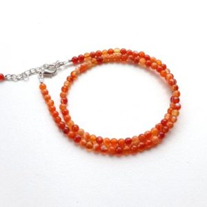 Shop Carnelian Necklaces! Delicate beaded necklace Carnelian 4 mm orange red carnelian thin choker necklace small necklace dainty minimalist jewelry August birthstone | Natural genuine Carnelian necklaces. Buy crystal jewelry, handmade handcrafted artisan jewelry for women.  Unique handmade gift ideas. #jewelry #beadednecklaces #beadedjewelry #gift #shopping #handmadejewelry #fashion #style #product #necklaces #affiliate #ad