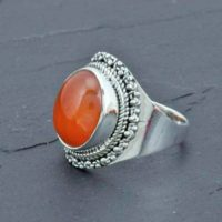 Attractive Sterling Silver Carnelian Ring, Silver Ring, Gift For Her, Unique Gift Ring, Designer Ring, Gemstone Ring, Handmade Ring, | Natural genuine Gemstone jewelry. Buy crystal jewelry, handmade handcrafted artisan jewelry for women.  Unique handmade gift ideas. #jewelry #beadedjewelry #beadedjewelry #gift #shopping #handmadejewelry #fashion #style #product #jewelry #affiliate #ad