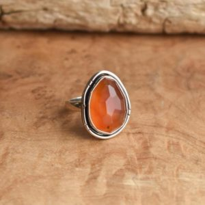 Chunky Boho Ring – Faceted Carnelian Ring – Carnelian Boho Ring – Silversmith Ring | Natural genuine Gemstone rings, simple unique handcrafted gemstone rings. #rings #jewelry #shopping #gift #handmade #fashion #style #affiliate #ad