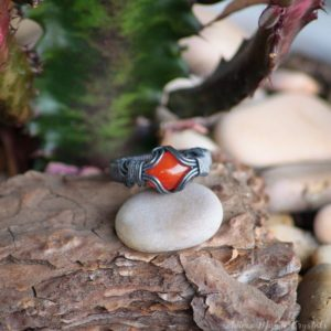 Shop Carnelian Rings! Carnelian Ring size 8US, black ring copper wire ring Alternative rings silver ring Heady ring boho rings, orange stone ring grunge ring | Natural genuine Carnelian rings, simple unique handcrafted gemstone rings. #rings #jewelry #shopping #gift #handmade #fashion #style #affiliate #ad