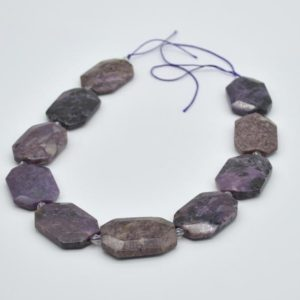 """Shop Charoite Faceted Beads! High Quality Grade A Natural Charoite Semi-precious Gemstone Faceted Large Rectangle Pendant / Beads – approx 15.5"""" strand 