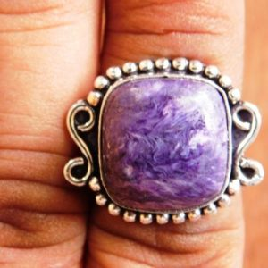 Shop Charoite Rings! Charoite Ring, sterling silver ring, Charoite gemstone Ring, Charoite Cabochon Ring, Purple Stone Ring, gift for her, handmade ring, A180 | Natural genuine Charoite rings, simple unique handcrafted gemstone rings. #rings #jewelry #shopping #gift #handmade #fashion #style #affiliate #ad
