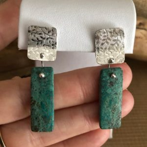 Shop Chrysocolla Earrings! Turquoise Chrysocolla Stone Dangle Earrings, Patterned Silver Dangle Earrings, Floral Silver Earrings, Everyday Earrings   Natural genuine Chrysocolla earrings. Buy crystal jewelry, handmade handcrafted artisan jewelry for women.  Unique handmade gift ideas. #jewelry #beadedearrings #beadedjewelry #gift #shopping #handmadejewelry #fashion #style #product #earrings #affiliate #ad