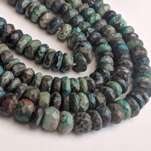 Shop Chrysocolla Necklaces! 6-7mm Chrysocolla Faceted Rondelle Beads, Faceted Chrysocolla Beads, Chrysocolla For Necklace (5in To 10in Options) – Pdg183 | Natural genuine Chrysocolla necklaces. Buy crystal jewelry, handmade handcrafted artisan jewelry for women.  Unique handmade gift ideas. #jewelry #beadednecklaces #beadedjewelry #gift #shopping #handmadejewelry #fashion #style #product #necklaces #affiliate #ad