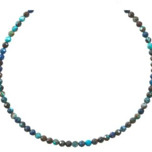 Shop Chrysocolla Necklaces! Chrysocolla Blue Necklace 14k Gold filled or Sterling Silver 18 19 Inch Chain Faceted Natural Earthy 3mm Blue Solid Strand Dainty Dark Blue | Natural genuine Chrysocolla necklaces. Buy crystal jewelry, handmade handcrafted artisan jewelry for women.  Unique handmade gift ideas. #jewelry #beadednecklaces #beadedjewelry #gift #shopping #handmadejewelry #fashion #style #product #necklaces #affiliate #ad