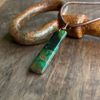 Man Stone Necklace, Mens Leather Necklace , Malachite Necklace Man, Mens Stone Pendant Necklace, Green Stone Necklace, chrysocolla Pendant | Natural genuine Gemstone jewelry. Buy handcrafted artisan men's jewelry, gifts for men.  Unique handmade mens fashion accessories. #jewelry #beadedjewelry #beadedjewelry #shopping #gift #handmadejewelry #jewelry #affiliate #ad