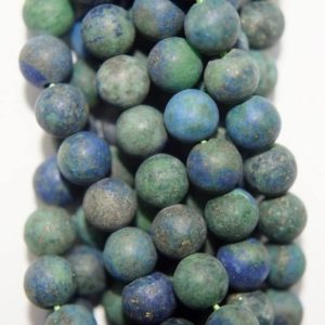 """Shop Chrysocolla Round Beads! Natural Matte Chrysocolla Beads – Round 6 mm Gemstone Beads – Full Strand 15 1/2"""", 62 beads, A Quality 