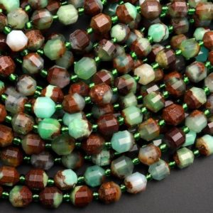 """Shop Chrysoprase Faceted Beads! Natural Bicolor Green Brown Chrysoprase 6mm 8mm Beads Rounded Faceted Energy Prism Double Terminated Points 15.5"""" Strand 