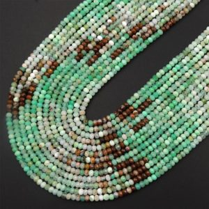 """Shop Chrysoprase Faceted Beads! Natural Multicolor Chrysoprase Faceted 3mm Rondelle Beads Diamond Cut Brown Green Gemstone Beads 15.5"""" Strand 