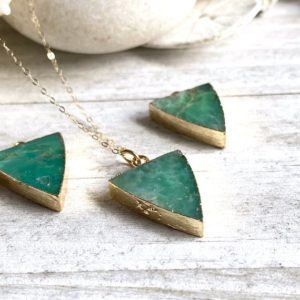 Shop Chrysoprase Necklaces! Australian Jade Necklace,Chrysoprase Necklace,Green Stone Necklace,Healing Stone,Triangle Crystal Necklace ,Chrysoprase Jewelry,Jade Jewelry   Natural genuine Chrysoprase necklaces. Buy crystal jewelry, handmade handcrafted artisan jewelry for women.  Unique handmade gift ideas. #jewelry #beadednecklaces #beadedjewelry #gift #shopping #handmadejewelry #fashion #style #product #necklaces #affiliate #ad