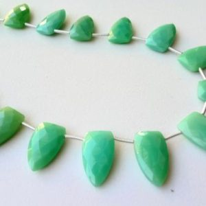Shop Chrysoprase Bead Shapes! 10x18mm Chrysoprase Faceted Shield Beads, Natural Chrysoprase Faceted Fancy Beads, Chrysoprase For Necklace (5.5IN To 11IN Options) – PSG111 | Natural genuine other-shape Chrysoprase beads for beading and jewelry making.  #jewelry #beads #beadedjewelry #diyjewelry #jewelrymaking #beadstore #beading #affiliate #ad