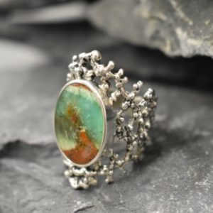 Shop Chrysoprase Rings! Chrysoprase Ring, Natural Chrysoprase, May Birthstone, Silver Shield Ring, Raw Metrix Chrysoprase, Chunky Silver Ring, Solid Silver Ring | Natural genuine Chrysoprase rings, simple unique handcrafted gemstone rings. #rings #jewelry #shopping #gift #handmade #fashion #style #affiliate #ad