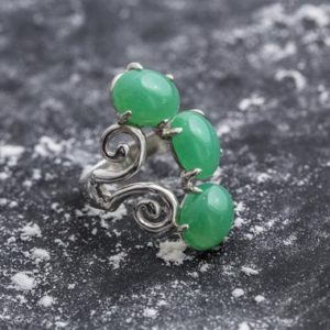 Shop Chrysoprase Rings! Chrysoprase Ring, Natural Chrysoprase, Statement Ring, Artistic Silver Ring, Green Chrysoprase, Silver Vintage Ring, Chrysoprase | Natural genuine Chrysoprase rings, simple unique handcrafted gemstone rings. #rings #jewelry #shopping #gift #handmade #fashion #style #affiliate #ad