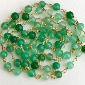 4.5mm Chrysoprase Wire Wrapped Plain Rondelle Beads, Chain By The Foot, Rosary Style Beaded Chain, 925 Silver With Gold Polish – KS3544 | Natural genuine rondelle Chrysoprase beads for beading and jewelry making.  #jewelry #beads #beadedjewelry #diyjewelry #jewelrymaking #beadstore #beading #affiliate #ad