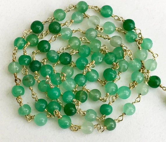 4.5mm Chrysoprase Wire Wrapped Plain Rondelle Beads, Chain By The Foot, Rosary Style Beaded Chain, 925 Silver With Gold Polish - Ks3544
