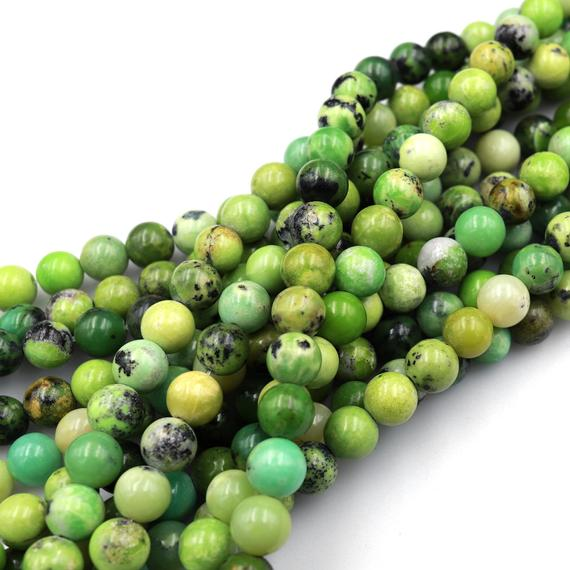 """Natural African Green Chrysoprase 6mm 8mm 10mm Smooth Polished Round Beads 15.5"""" Strand"""