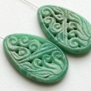 Shop Chrysoprase Shapes! 32x20mm Chrysoprase Filigree Hand Carved Drilled Matched Pair, Chrysoprase Gemstone Carving, Natural Chrysoprase Filigree For Jewelry   Natural genuine stones & crystals in various shapes & sizes. Buy raw cut, tumbled, or polished gemstones for making jewelry or crystal healing energy vibration raising reiki stones. #crystals #gemstones #crystalhealing #crystalsandgemstones #energyhealing #affiliate #ad