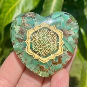 Shop Chrysoprase Shapes! Chrysoprase Orgonite Heart with Flower of Life Symbol, Orgonite Heart, Orgone, Copper, Chrysoprase, Flower of Life   Natural genuine stones & crystals in various shapes & sizes. Buy raw cut, tumbled, or polished gemstones for making jewelry or crystal healing energy vibration raising reiki stones. #crystals #gemstones #crystalhealing #crystalsandgemstones #energyhealing #affiliate #ad