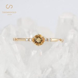 Vintage Citrine engagement ring, Art deco yellow gold Diamond wedding ring, Unique Stacking prong set ring, Antique Promise Anniversary ring | Natural genuine Gemstone rings, simple unique alternative gemstone engagement rings. #rings #jewelry #bridal #wedding #jewelryaccessories #engagementrings #weddingideas #affiliate #ad