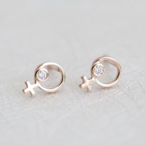 Shop Diamond Earrings! Rose Gold Diamond Female Symbol Earrings, 14k Solid Yellow, White Woman Studs, Dainty Delicate Stud, Feminist Earring, Perfect Gift For Her | Natural genuine Diamond earrings. Buy crystal jewelry, handmade handcrafted artisan jewelry for women.  Unique handmade gift ideas. #jewelry #beadedearrings #beadedjewelry #gift #shopping #handmadejewelry #fashion #style #product #earrings #affiliate #ad